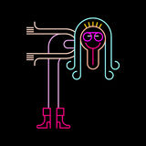 Funny man in welcoming gesture. Neon colors on a black background Funny man in welcoming gesture vector illustration vector illustration