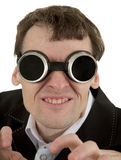 Funny man in welding goggles Royalty Free Stock Photo