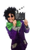 Funny man in wig with clapper board isolated on Royalty Free Stock Image