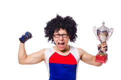 Funny man after winning gold cup isolated Royalty Free Stock Photo