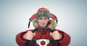 Funny man winter driving, car drive concept Royalty Free Stock Photo