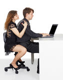 Funny man and woman sitting at the table Royalty Free Stock Photo