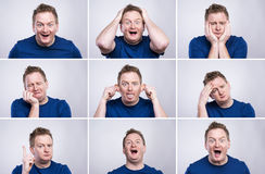 Funny man. Funny young adult showing his emotions expressively by his gestures and mimics . Studio shot on white background Stock Photo