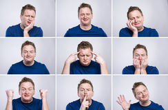 Funny man. Funny young adult showing his emotions expressively by his gestures and mimics . Studio shot on white background Royalty Free Stock Photography