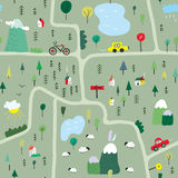 Funny map seamless pattern with nature, landscape and camping Royalty Free Stock Images