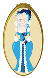 Funny Marie Antoinette. A vector cartoon representing a funny Marie Antoinette - golden frame is in a separate layer, so you can easily remove it if you need to Vector Illustration