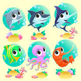 Funny marine animals with backgrounds. Vector cartoon illustration Stock Images