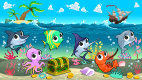Funny marine animals in the sea with galleon. Vector cartoon illustration Royalty Free Stock Photos