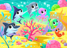 Funny marine animals under the sea Royalty Free Stock Images