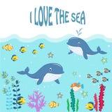 Funny marine animals under the sea. Vector illustration Stock Photography