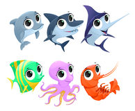 Funny marine animals. Vector cartoon isolated characters Stock Images