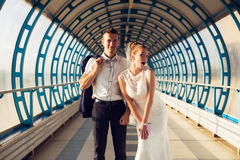 Funny married couple in tunnel Stock Photos