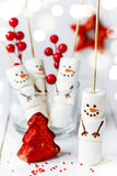Funny marshmallow snowman for treat kids for Christmas Stock Photo