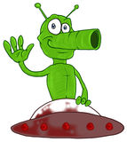 Funny martian in UFO Royalty Free Stock Photography