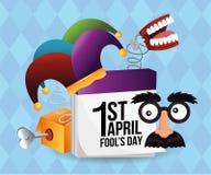 Funny mask with calendar and joker hat. Vector illustration stock illustration