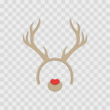 Funny mask with Christmas reindeer horns isolated on transparent checkered,  illustration. Cartoon Cute Headband with Ears. Royalty Free Stock Images