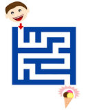 Funny maze for children. A maze game for children with a boy and ice cream isolated on white Royalty Free Stock Photos