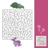 Funny maze for children. Help the dino to find friend. Kids games with answer. Funny maze for children. Help the dino to find friend. Kids learning games Stock Photos