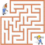 Funny Maze Game: Help the Cartoon Worker Find the Way. Vector Illustration Stock Images