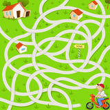 Funny maze game. The funny motorcyclist find the tangled way to house vector illustration