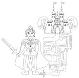 Funny maze game: Prince looking castle Stock Image