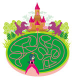 Funny maze game - princess looking for a way to the castle Stock Photos