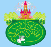Funny maze game - princess waits in a castle Royalty Free Stock Photo