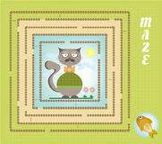 Funny maze, labyrinth - hipster cat, golden fish. Colorful maze, labyrinth with cat and fish Stock Photo