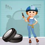 Funny mechanic girl Stock Photography