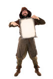 Funny medieval man is holding a old aged scroll Stock Photos