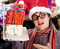 Funny men in christmas cap Stock Photography