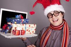 Funny men in christmas cap Stock Photo
