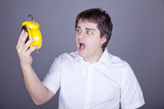 Funny men with clock. Stock Photo