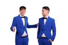 Funny men  dressed in blue suite Royalty Free Stock Photo