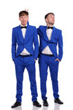 Funny men  dressed in blue suite Royalty Free Stock Image