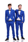 Funny men  dressed in blue suite Stock Photography