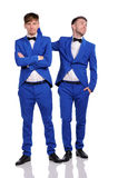 Funny men  dressed in blue suite Royalty Free Stock Photography