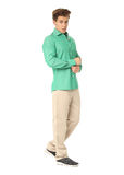 Funny men dressed in green shirt with emotion isolated Royalty Free Stock Photography