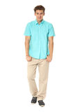 Funny men dressed in turquoise shirt with emotion isolated Stock Photography