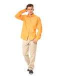 Funny men dressed in yellow shirt with emotion isolated Royalty Free Stock Images