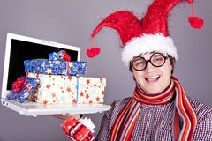 Funny men with gift boxes and notebook. Royalty Free Stock Image