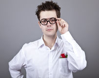 Funny men in glasses. Royalty Free Stock Photography