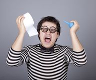 Funny men keeping clyster and toilet paper. Royalty Free Stock Photos