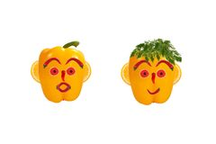 Funny men's faces made of vegetables and fruits Stock Images