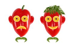Funny men's faces made of vegetables. Royalty Free Stock Photography