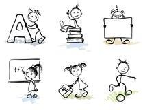 Funny Men - Schoolchild. Set  illustration -- Funny Men Schoolchild Stock Images