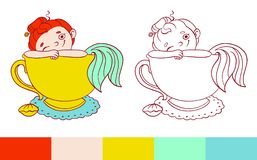 Funny mermaid in a cup of tea illustration.  Vector template for coloring. Activity for kids with examples.  Stock Photos