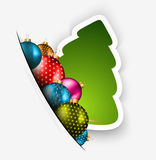 Funny 2014 Merry Christmas background. With stylized paper tree and baubles royalty free illustration