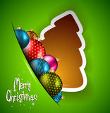 Funny 2014 Merry Christmas background. With stylized paper tree and baubles vector illustration