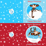 Funny Merry Christmas card. Bright funny Christmas cards with monkeys and sheep Stock Photos